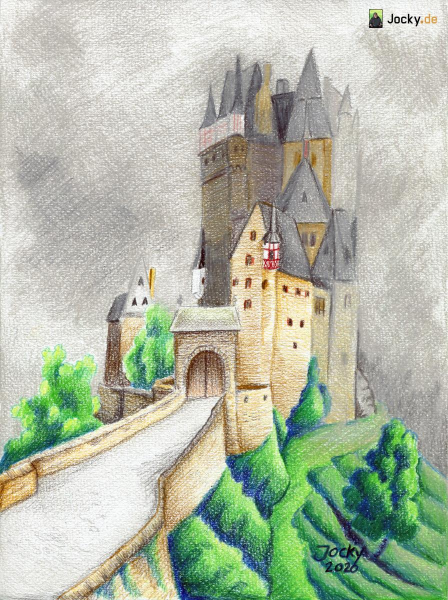 Feste Burg in dichtem Nebel