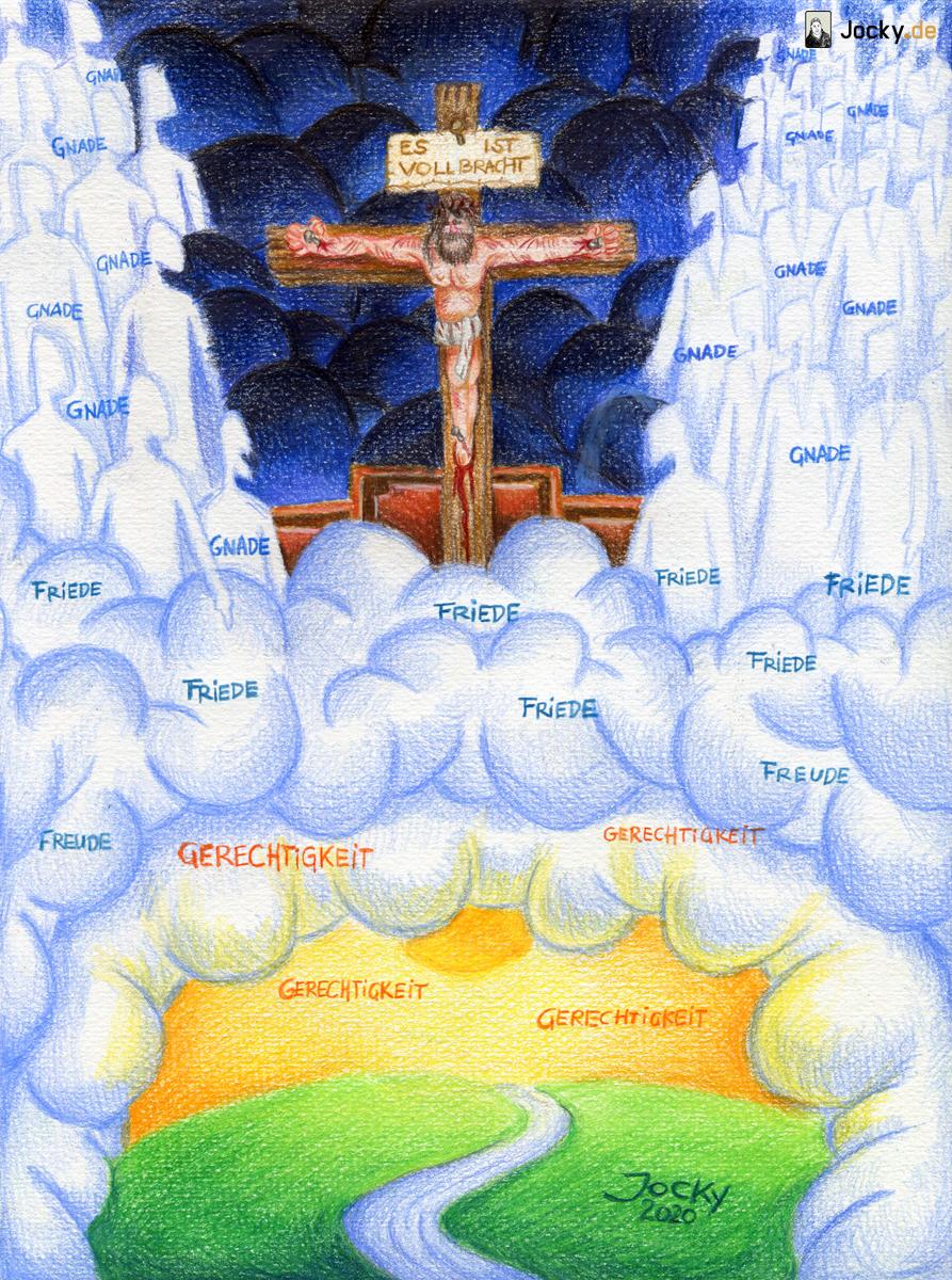 Gerichtssaal: Kreuz, Gnade, Friede, Freude und Gerechtigkeit