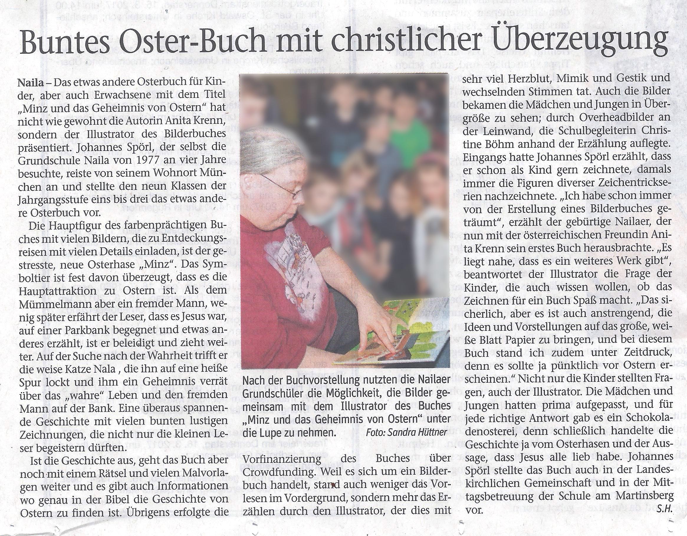 Frankenpost: Zeitungsbericht von Buchvorstellung in Grundschule ...